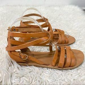 Ancient Greek Sandal Leather Wrap Sandals